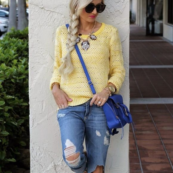 Sanctuary Sweaters - Sanctuary Yellow Loose Knit Sweater S